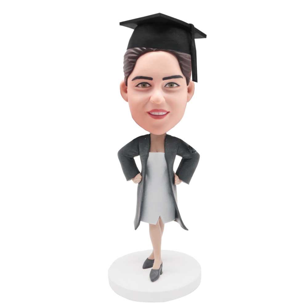Custom-Akimbo-Female-Graduation-Bobblehead-In-Black-Gown