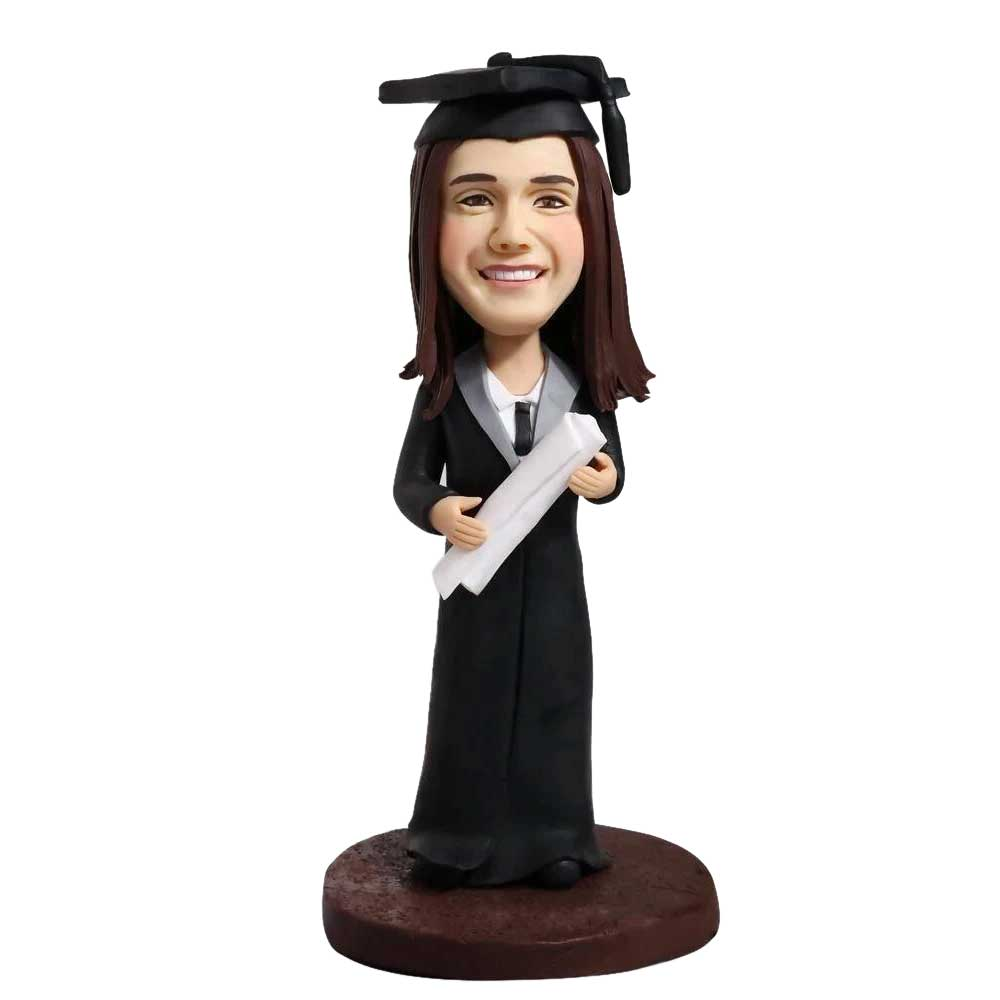 Custom-Cute-Female-Graduation-Bobblehead-In-Black-Gown-And-Holding-A-Certificate.