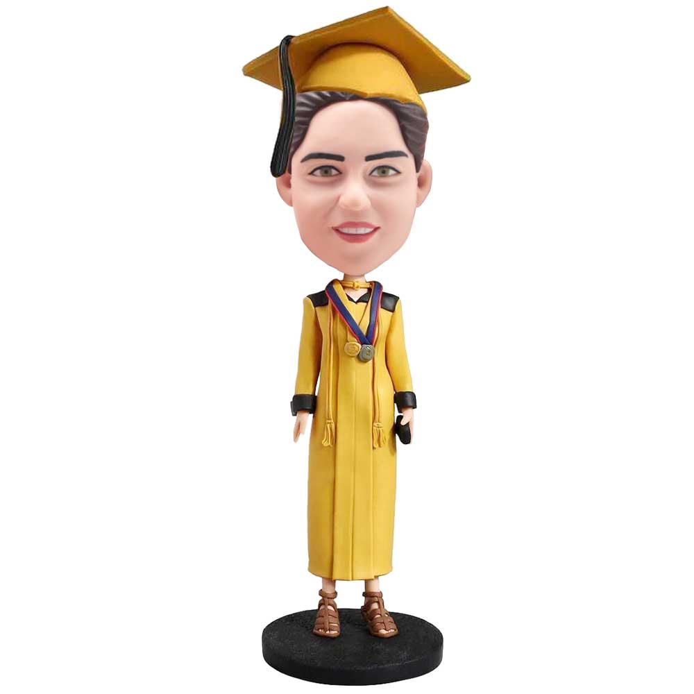 Custom-Excellent-Female-Graduation-Bobblehead-In-Yellow-Gown