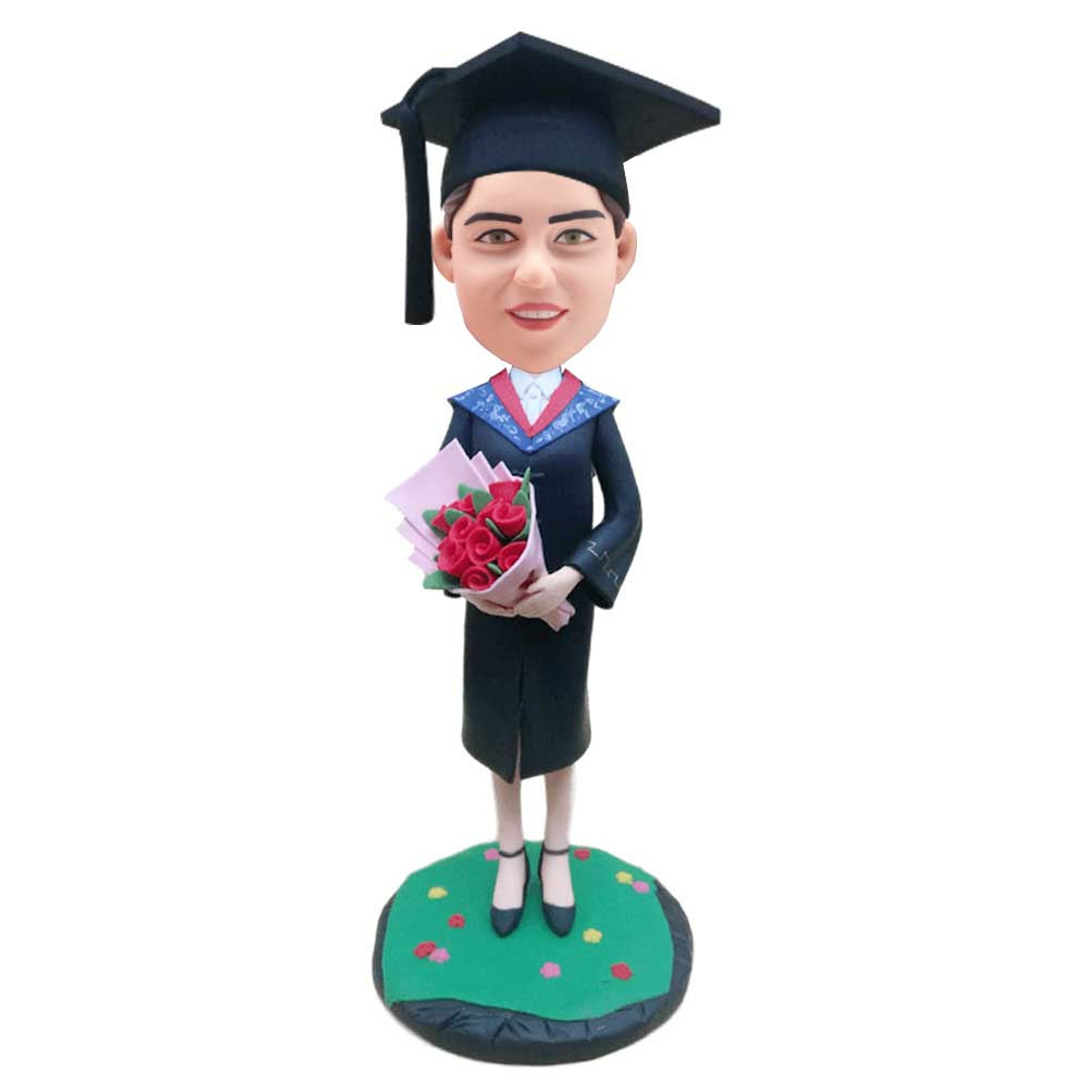 Custom-Female-Graduation-Bobblehead-Holding-A-Bouquet-Of-Flowers