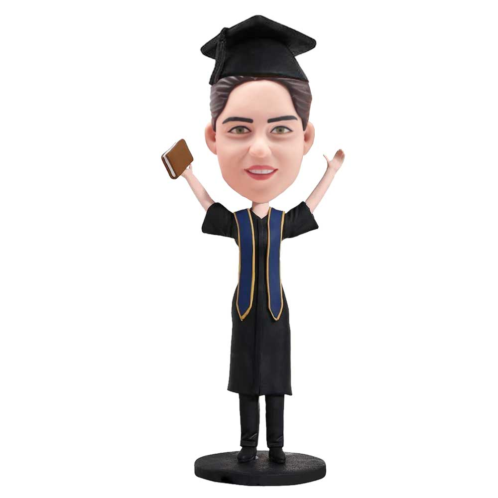 Custom-Female-Graduation-Bobblehead-In-Black-Gown-And-Holding-A-Book