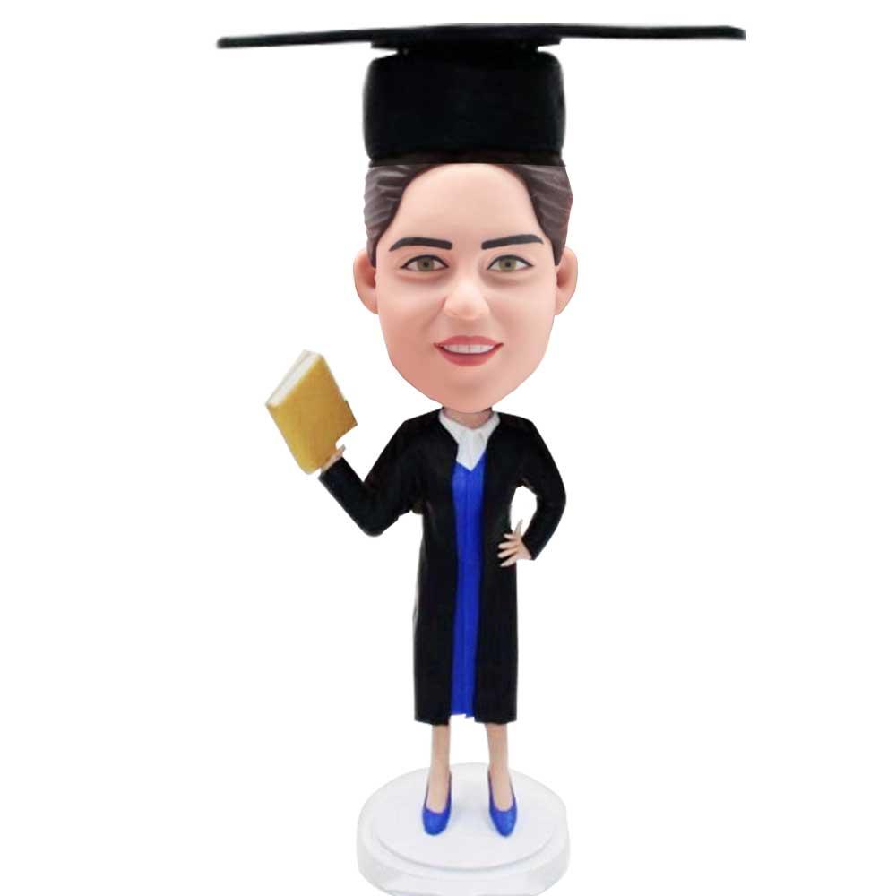 Custom-Female-Graduation-Bobblehead-In-Black-Gown-With-Blue-Dress