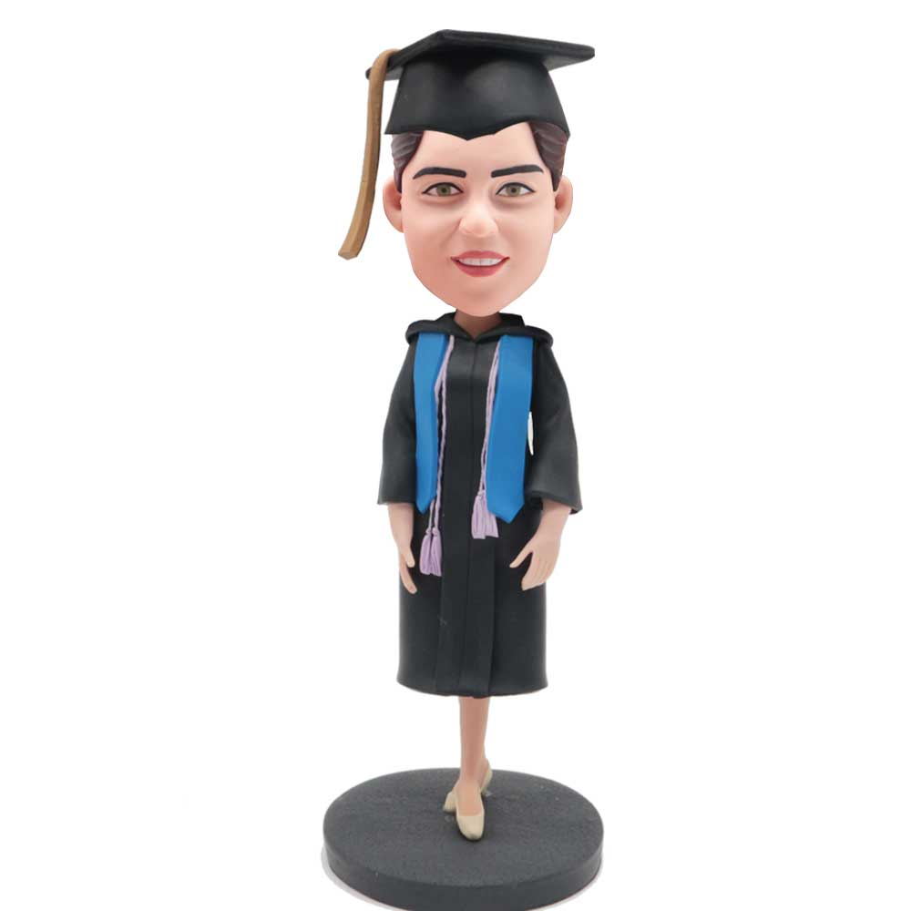 Custom-Female-Graduation-Bobblehead-In-Black-Gown-With-Blue-Ribbon