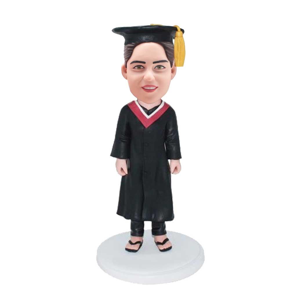 Custom-Female-Graduation-Bobblehead-In-Black-Gown