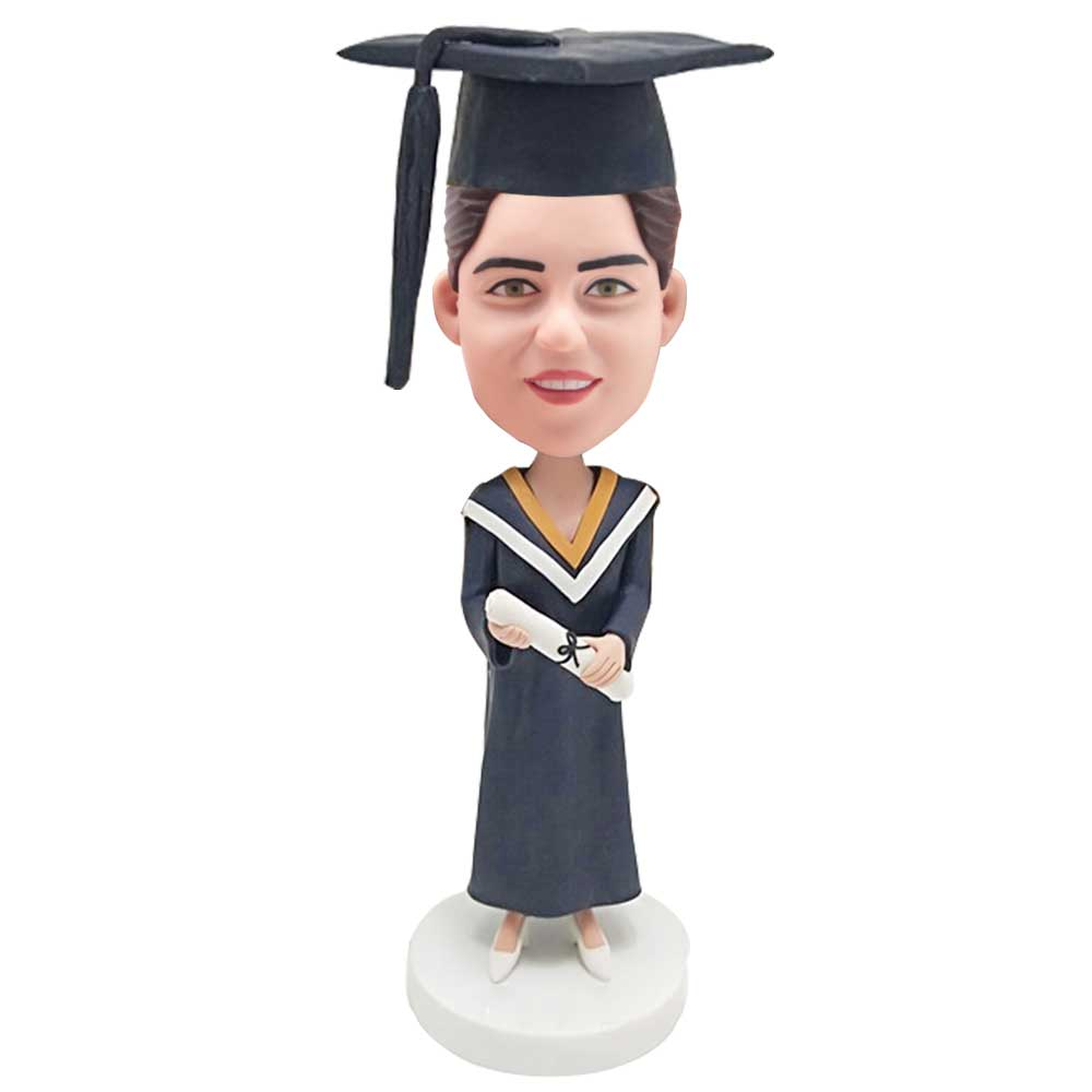 Custom-Female-Graduation-Bobblehead-In-Dark-Blue-Gown-And-Holding-A-Certificate