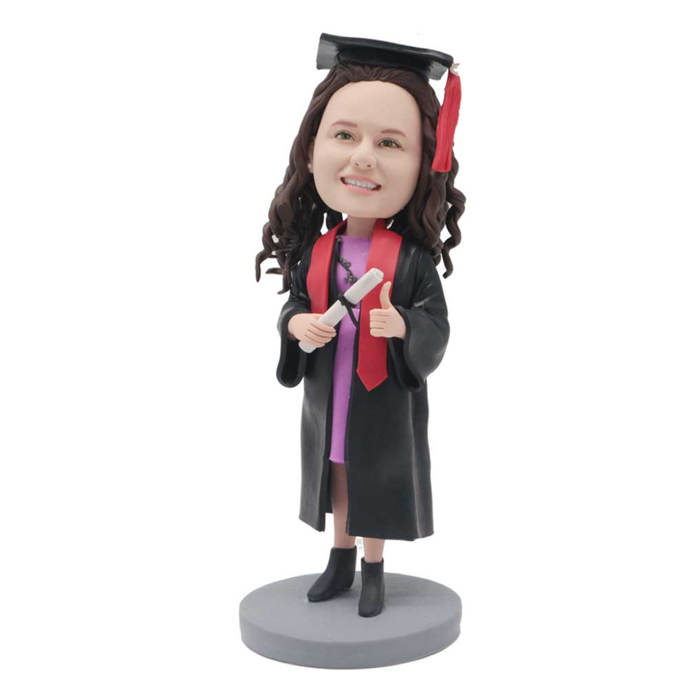 Custom-Female-Graduation-Bobblehead-With-Thumbs-Up-In-Black-Gown.