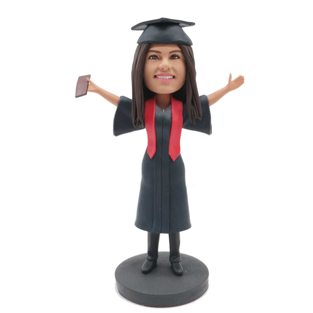 Custom-Happy-Female-Graduation-Bobblehead-In-Black-Gown-With-Red-Ribbons.