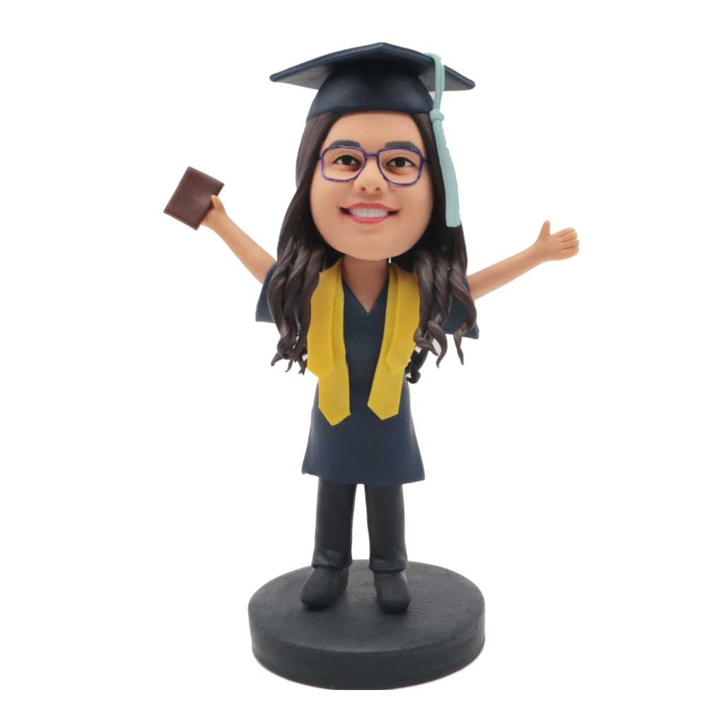 Custom-Happy-Female-Graduation-Bobblehead-In-Black-Gown-With-Yellow-Ribbons.