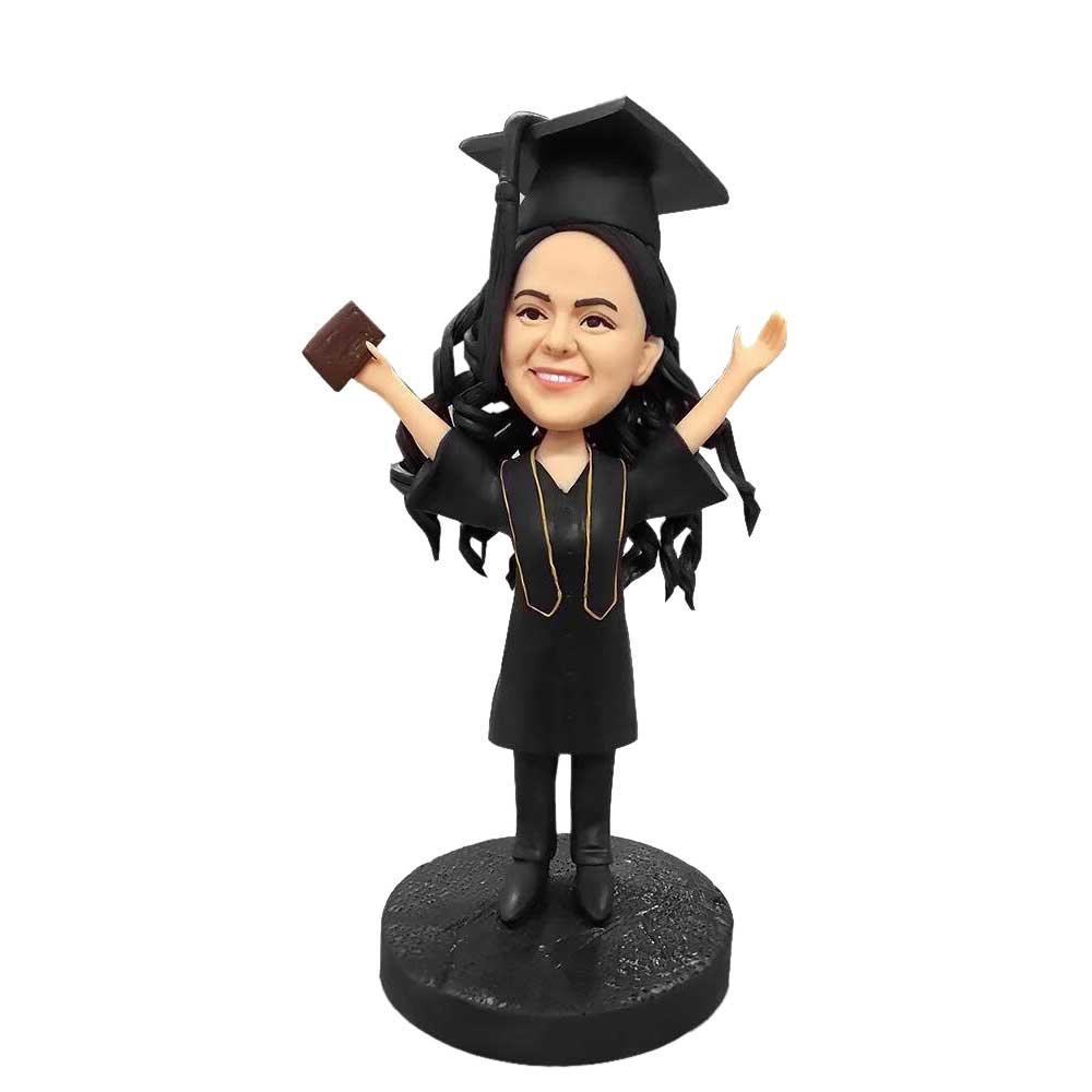 Custom-Happy-Female-Graduation-Bobblehead-In-Black-Gown
