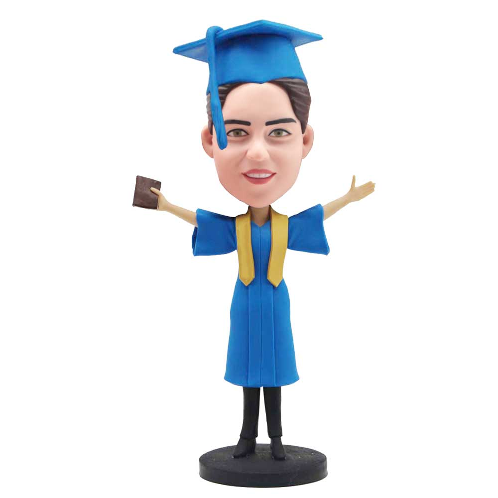 Custom-Happy-Female-Graduation-Bobblehead-In-Blue-Gown-With-Yellow-Ribbons