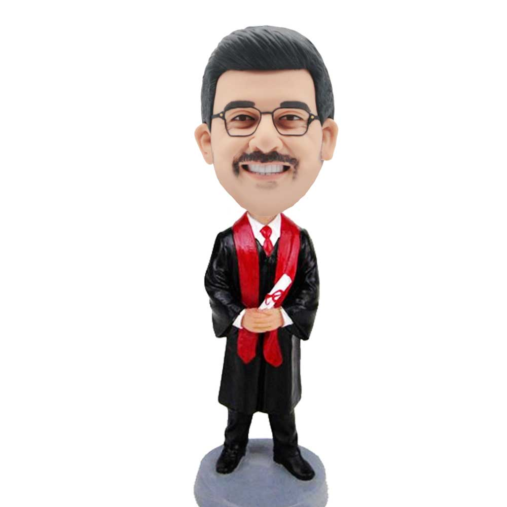 Custom-Male-Graduation-Bobblehead-In-Black-Gown-With-Red-Ribbons