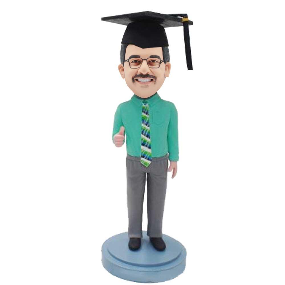 Custom-Male-Graduation-Bobblehead-In-Green-Shirt