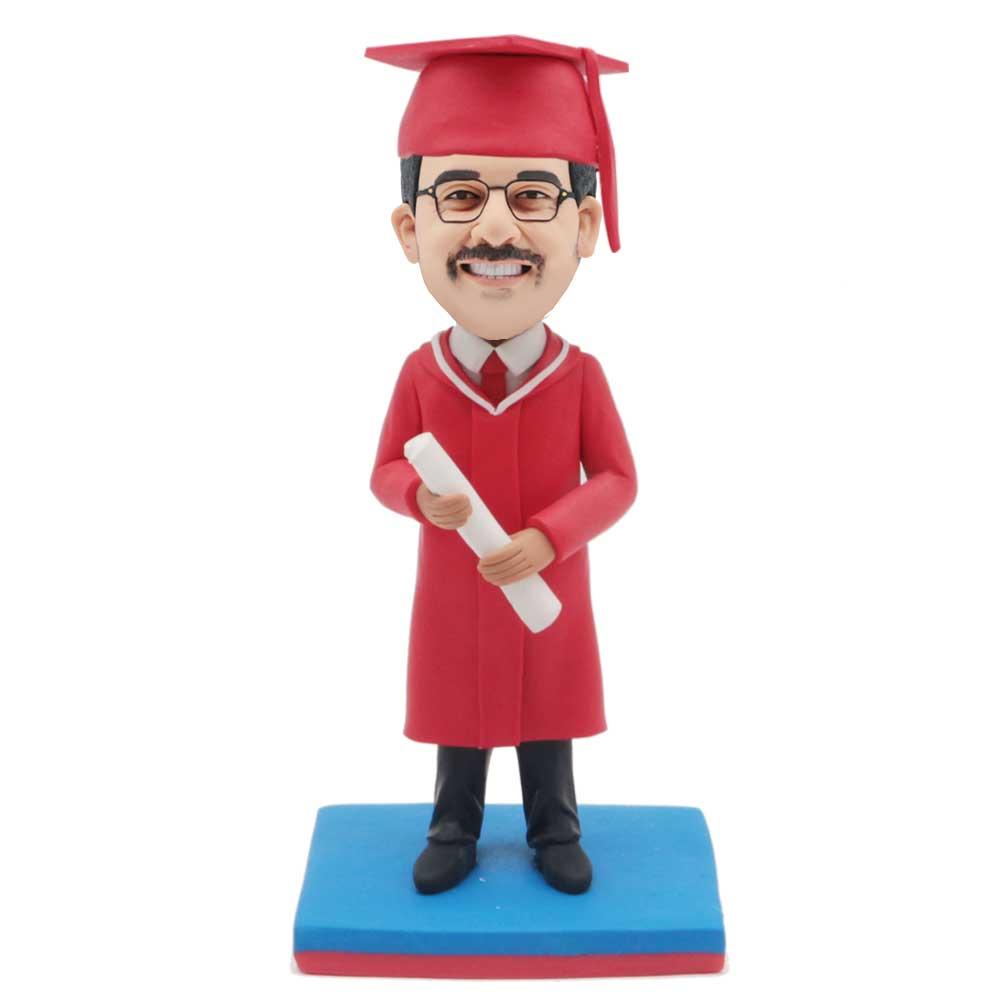 Custom-Male-Graduation-Bobblehead-In-Red-Gown-With-A-Certificate