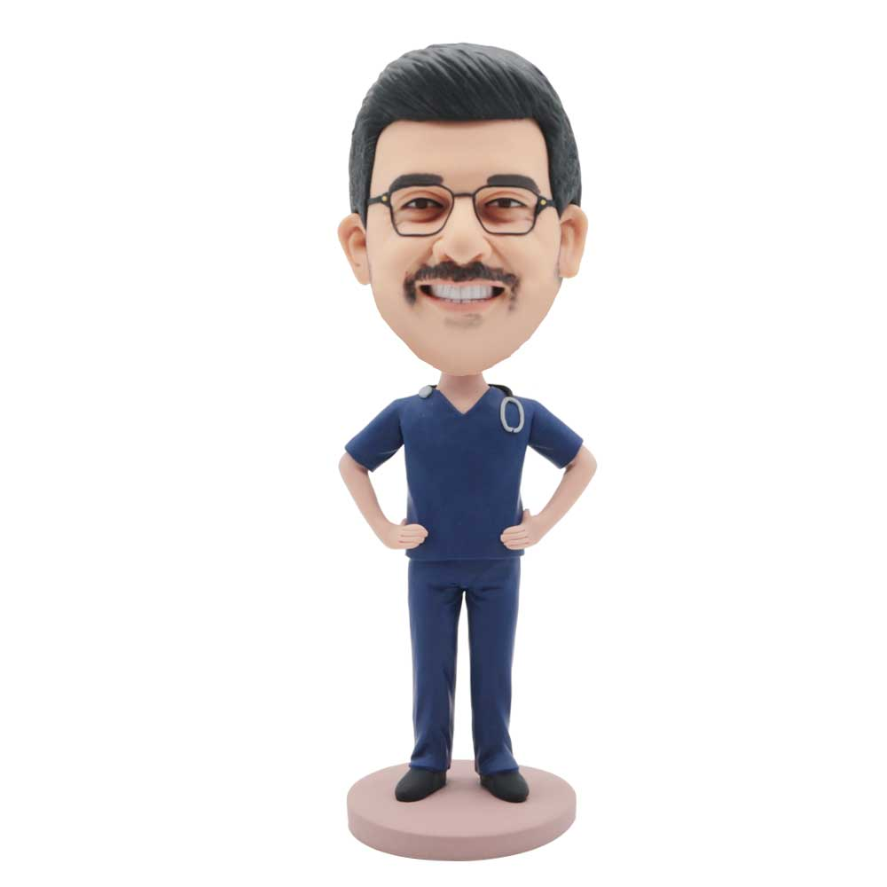 Custom-Male-Surgeon-Doctor-Bobblehead-In-Dark-Blue-Surgical-Gown