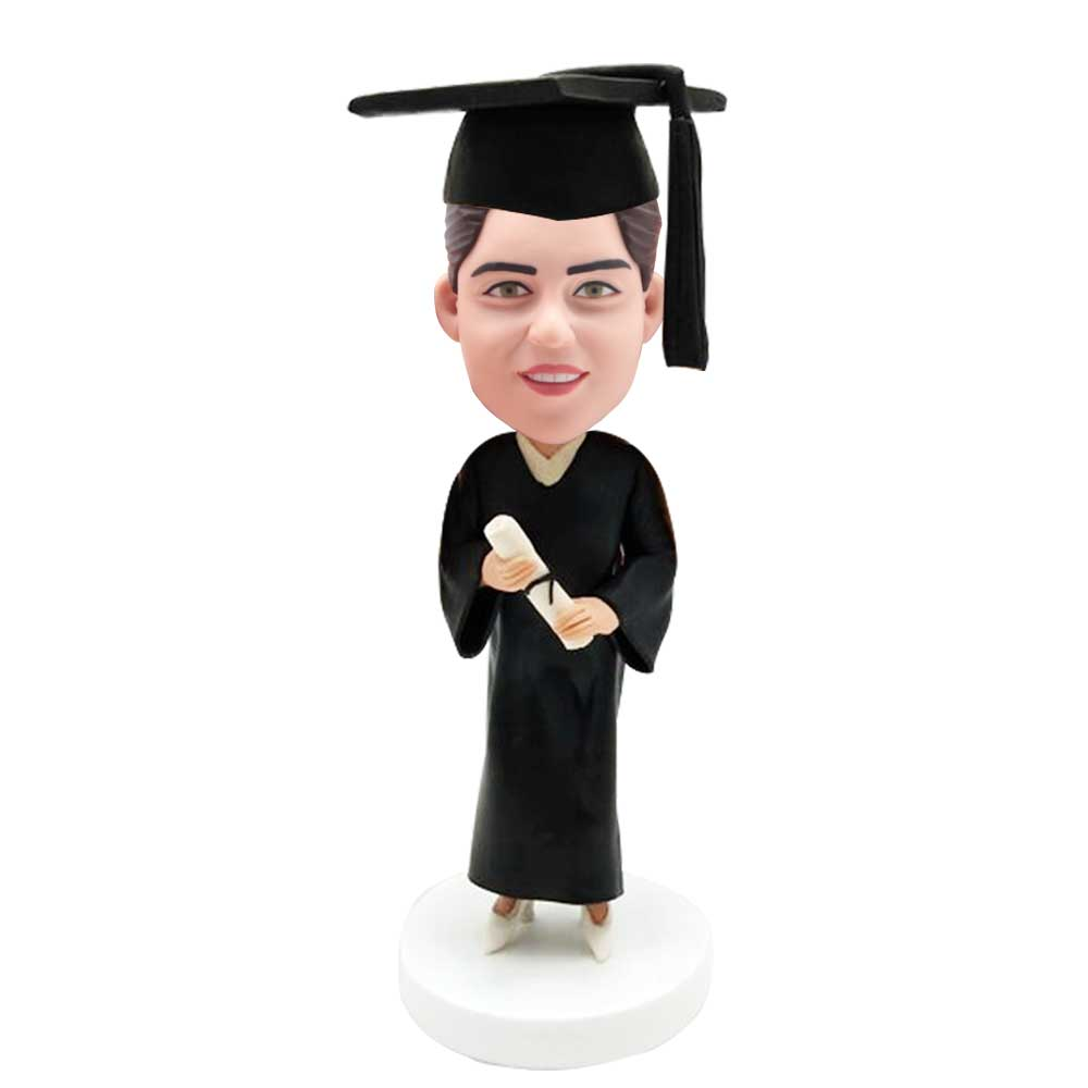 Custom-Smart-Female-Graduation-Bobblehead-In-Black-Gown-And-Holding-A-Certificate.