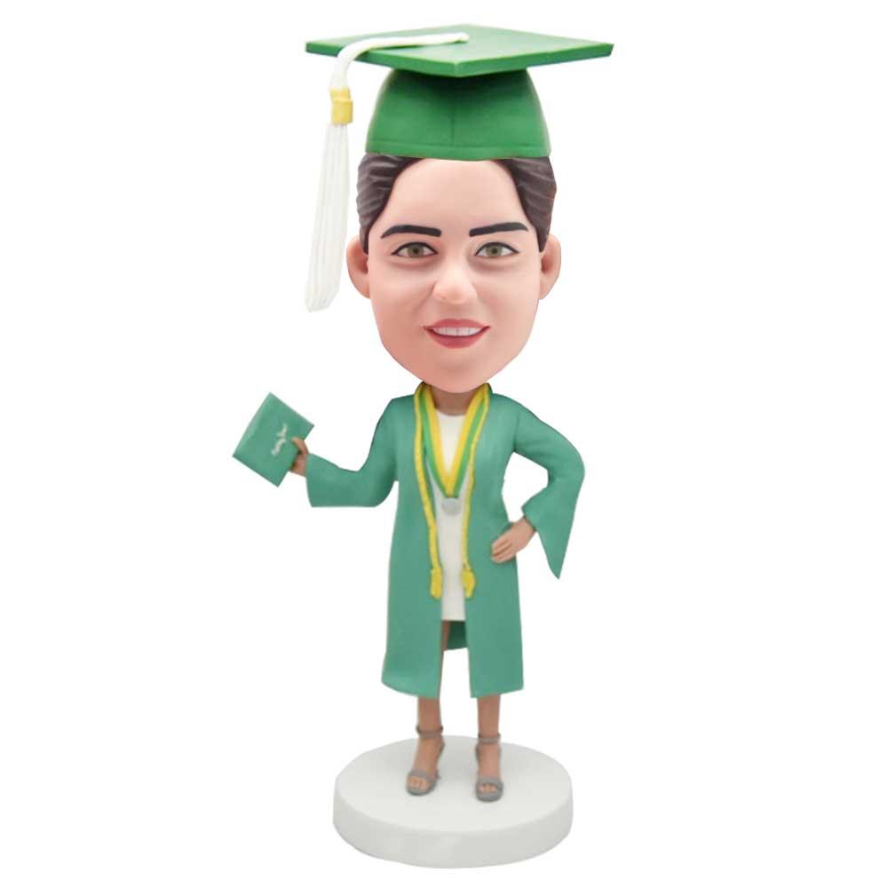 Custom-Smart-Female-Graduation-Bobblehead-In-Green-Gown