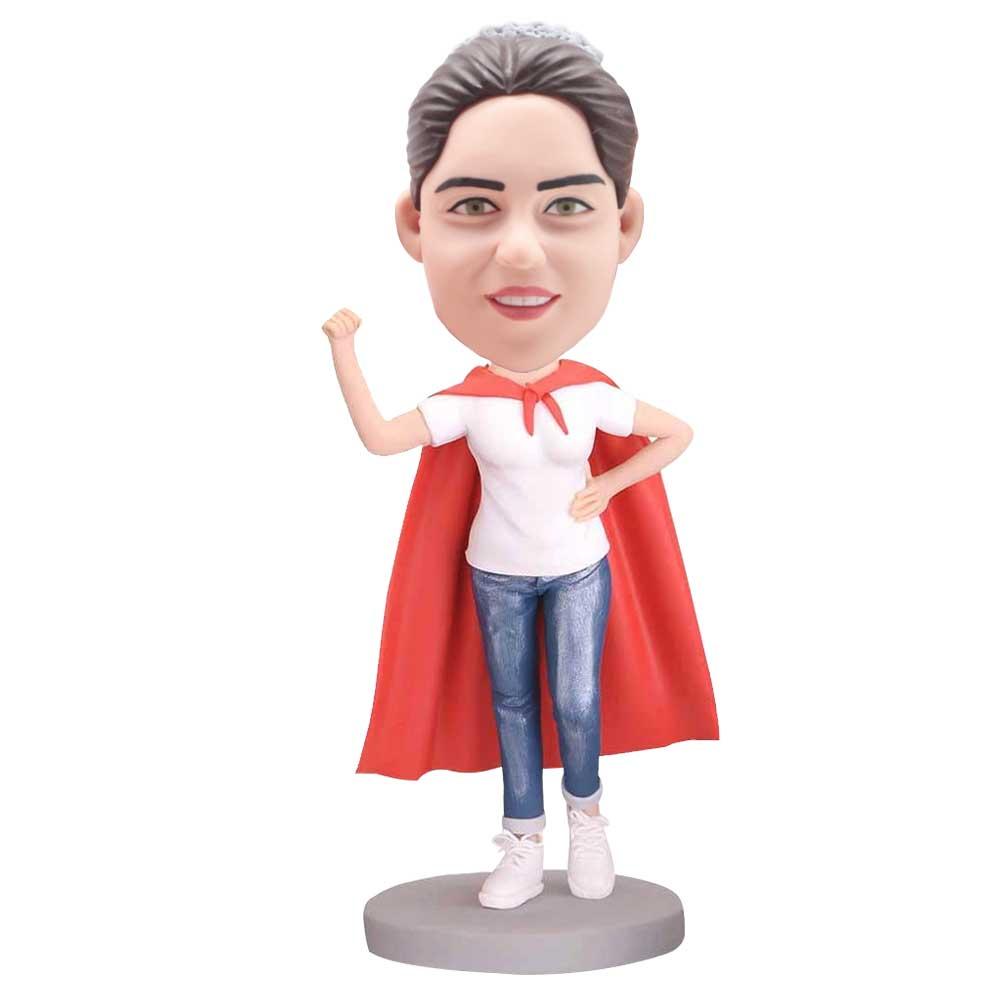 Custom-Superwoman-Bobblehead-In-Red-Cape-Hero