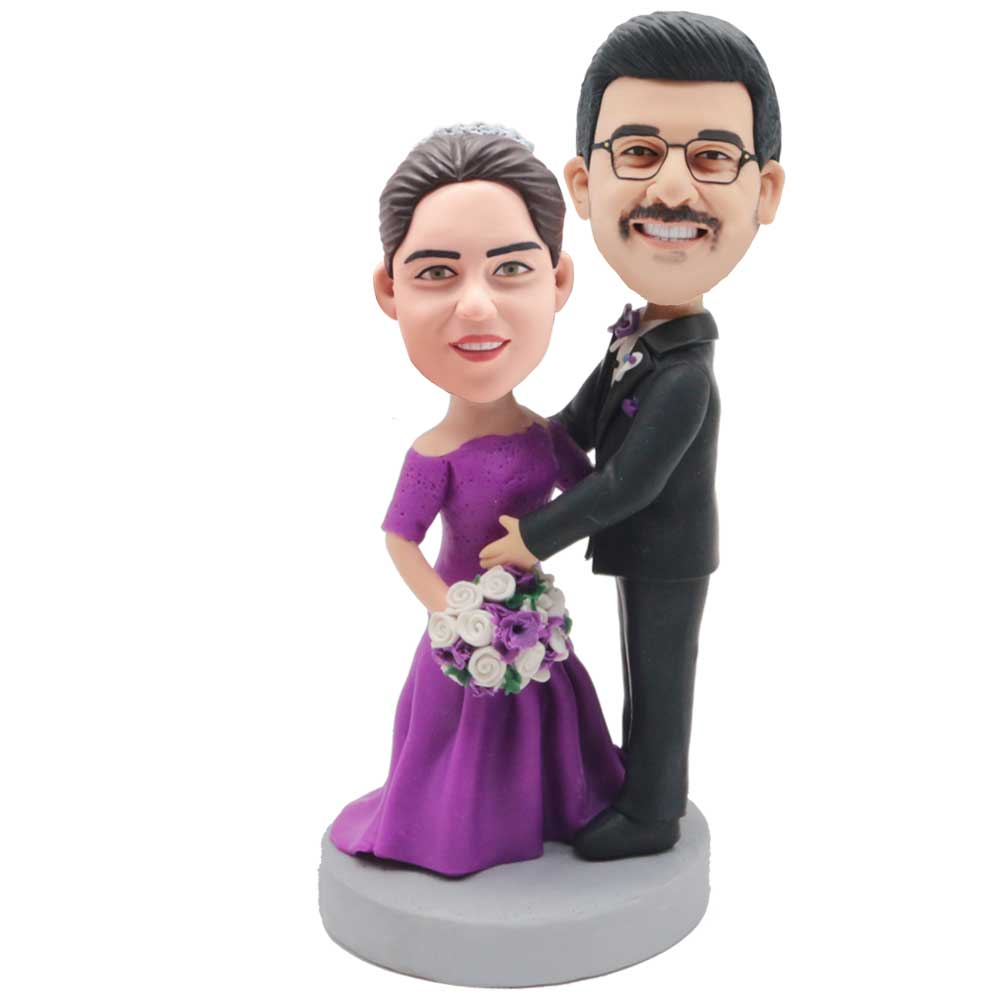 Custom-Wedding-Bobblehead-Groom-and-Bride-In-Purple-Wedding-Dress-and-Black-Suit