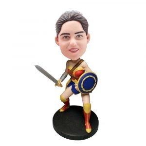Custom-Wonder-Woman-Bobblehead-In-Defensive-State