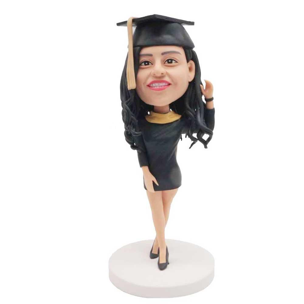 Custom-Beautiful-Female-Graduation-Bobblehead-In-Black-Dress