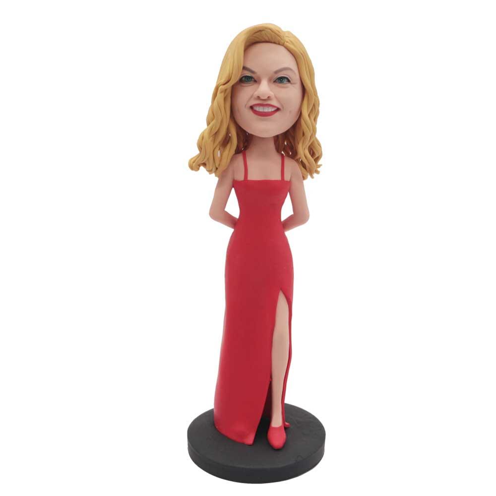 Custom-Charming-Female-Bobblehead-In-Long-Red-Dress