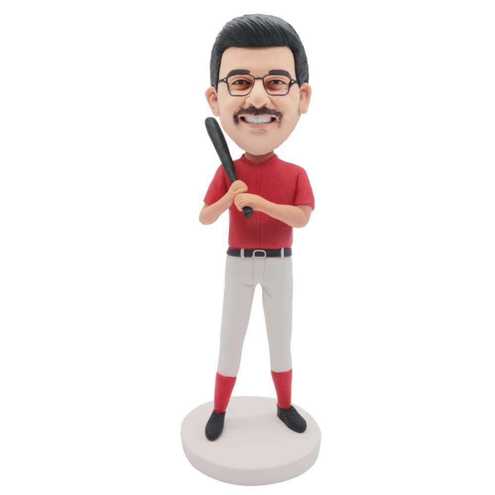 Custom-Cricket-Batsman-Bobblehead-In-Red-T-shirt.