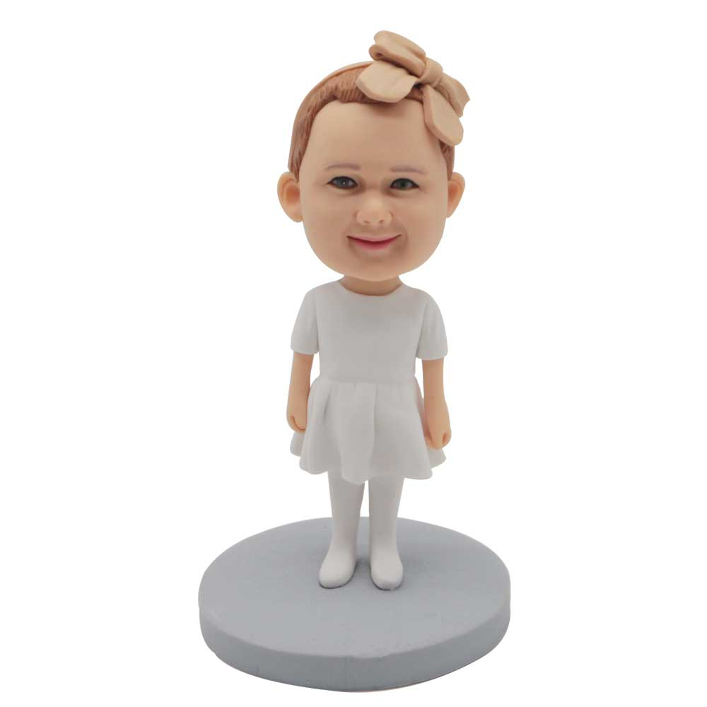 Custom-Cute-Baby-Bobblehead-In-White-Dress-And-A-Bow