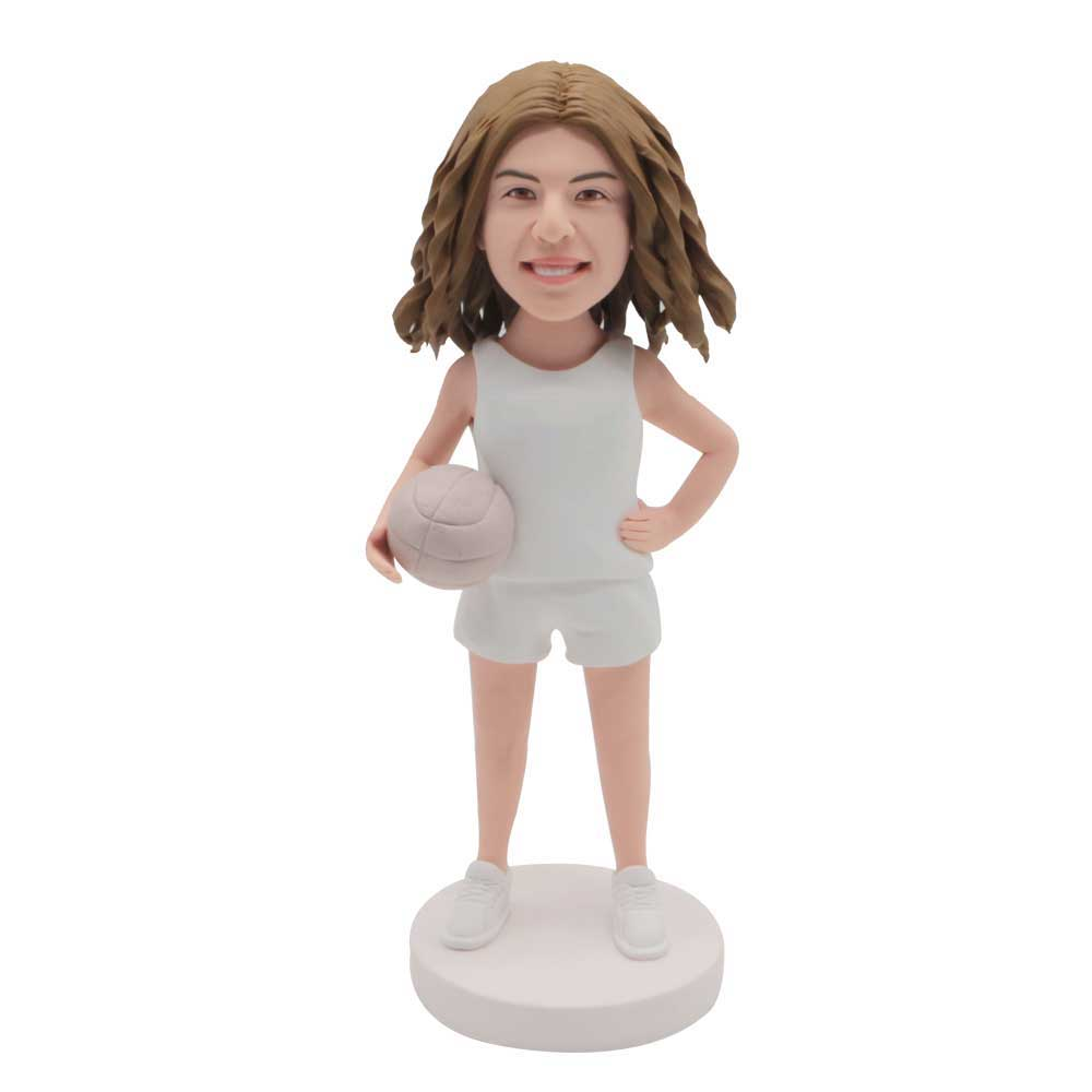 Custom-Female-Basketball-Player-Bobblehead-In-White-Sportswear