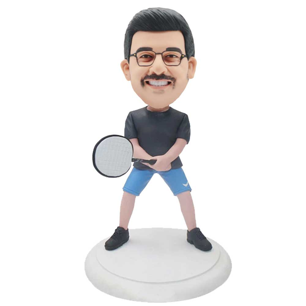 Custom-Male-Badminton-Player-Bobblehead-In-Black-T-Shirt-Holding-Badminton-Racket.