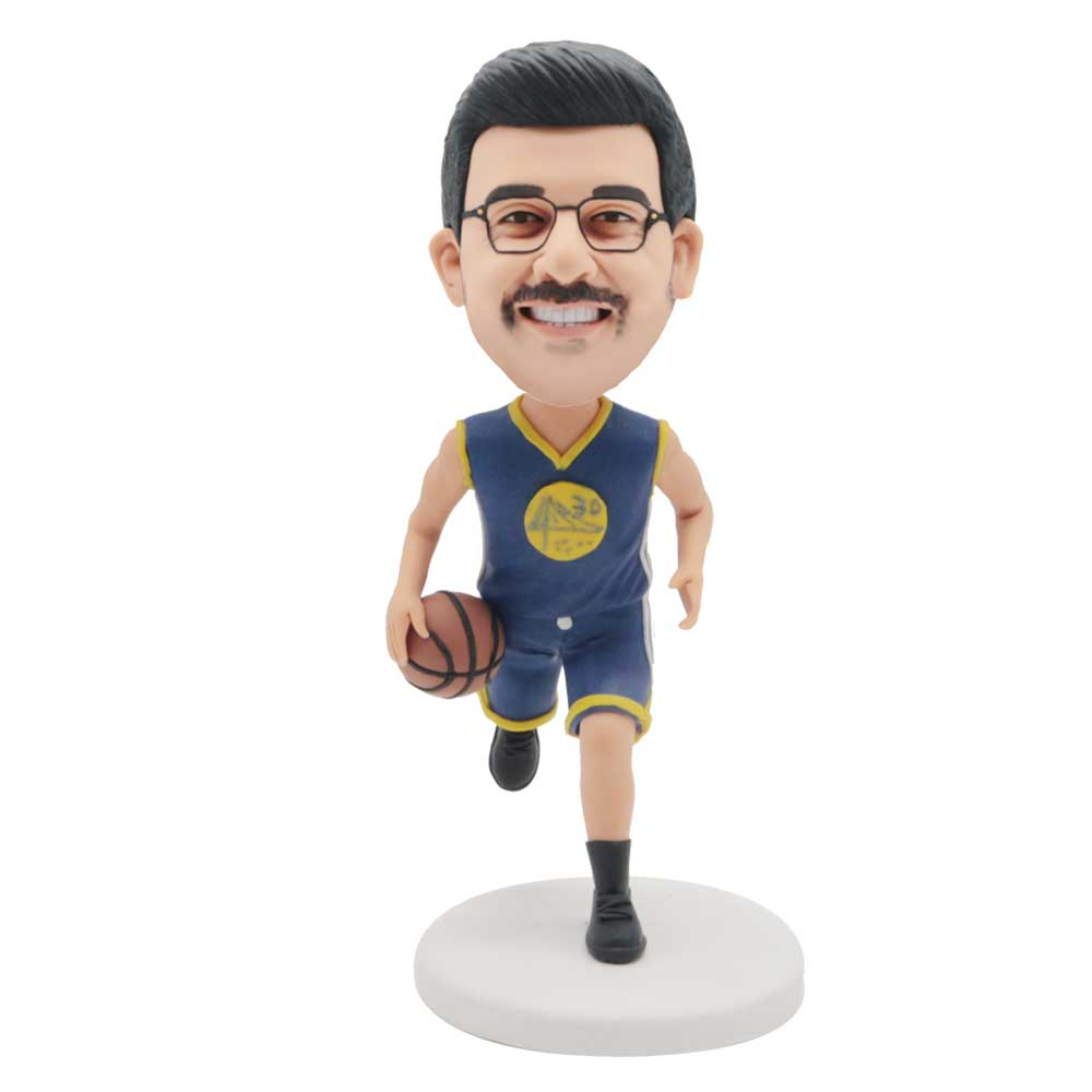 Custom Male Basketball Player Bobblehead In Blue Tracksuit