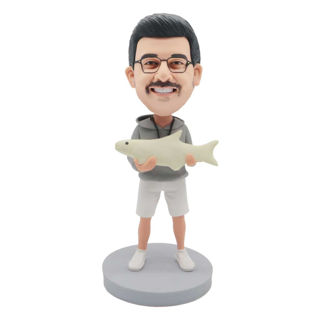 Custom-Male-Bobblehead-Holding-Fish