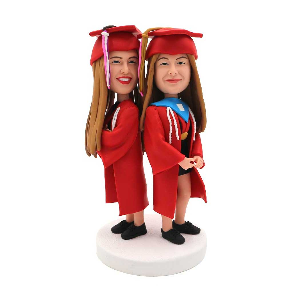 Custom-Back-to-Back-Female-Graduates-Bobblehead-In-Red-Gown
