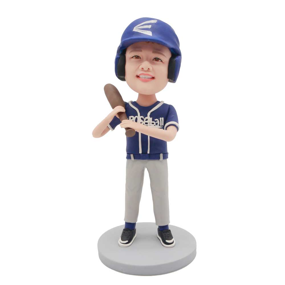 Custom-Cool-Boy-Bobblehead-In-Blue-Baseball-Uniform-With-A-Baseball-Bat