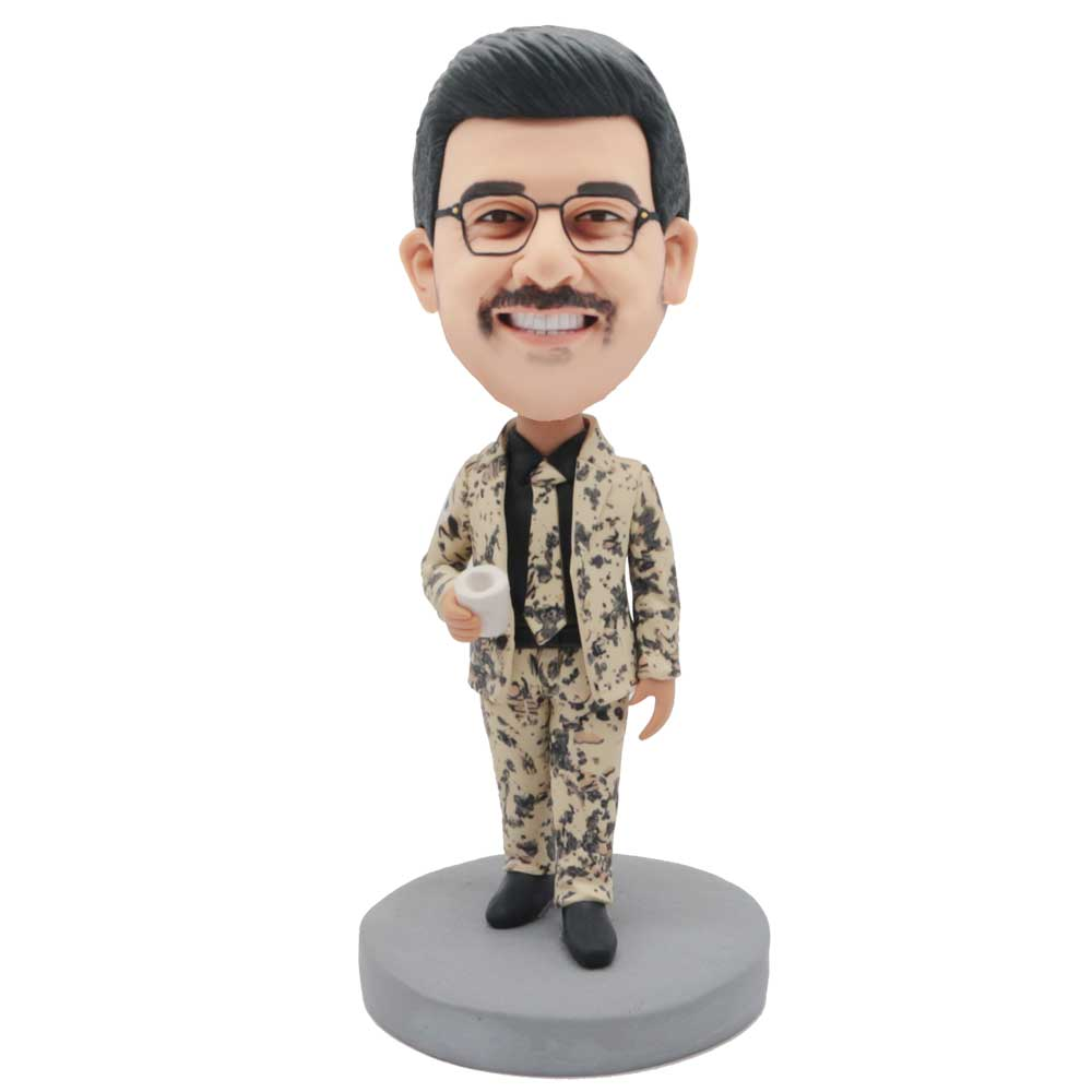 Custom-Fashion-Male-Office-Manager-Bobblehead-In-Yellow-Floral-Suit