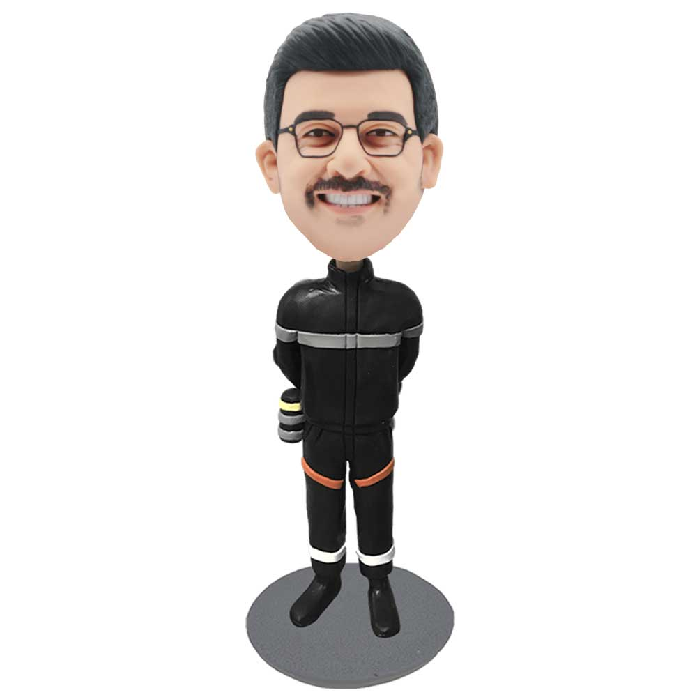 Custom-Fireman-Bobblehead-In-Black-Fire-Suit