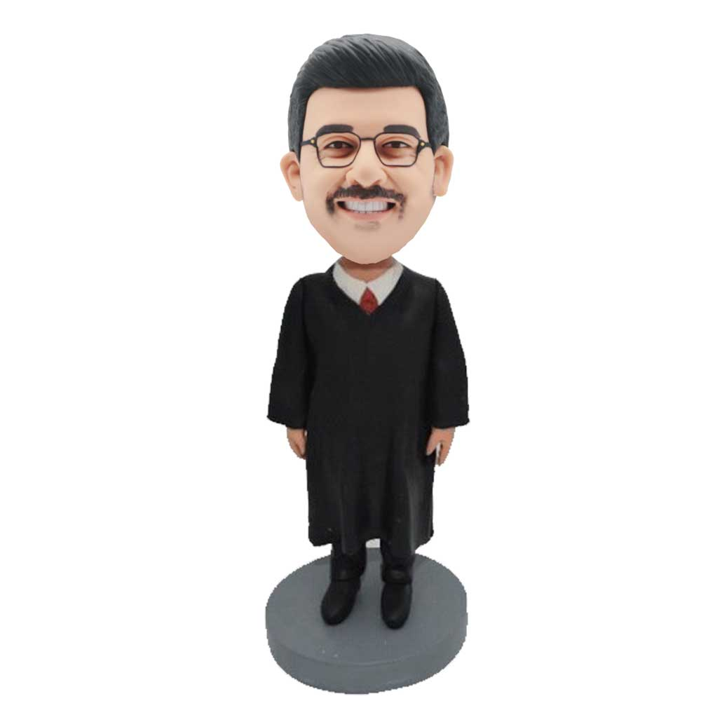 Custom-Handsome-Male-Judge-Bobblehead-In-Black-Robe