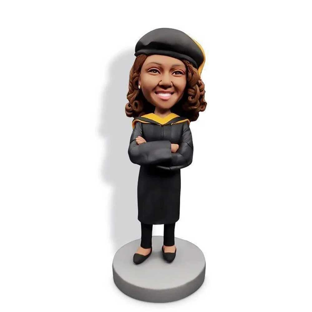 Custom-Happy-Female-Graduates-Bobblehead-In-Black-Gown-And-Crossed-Arms