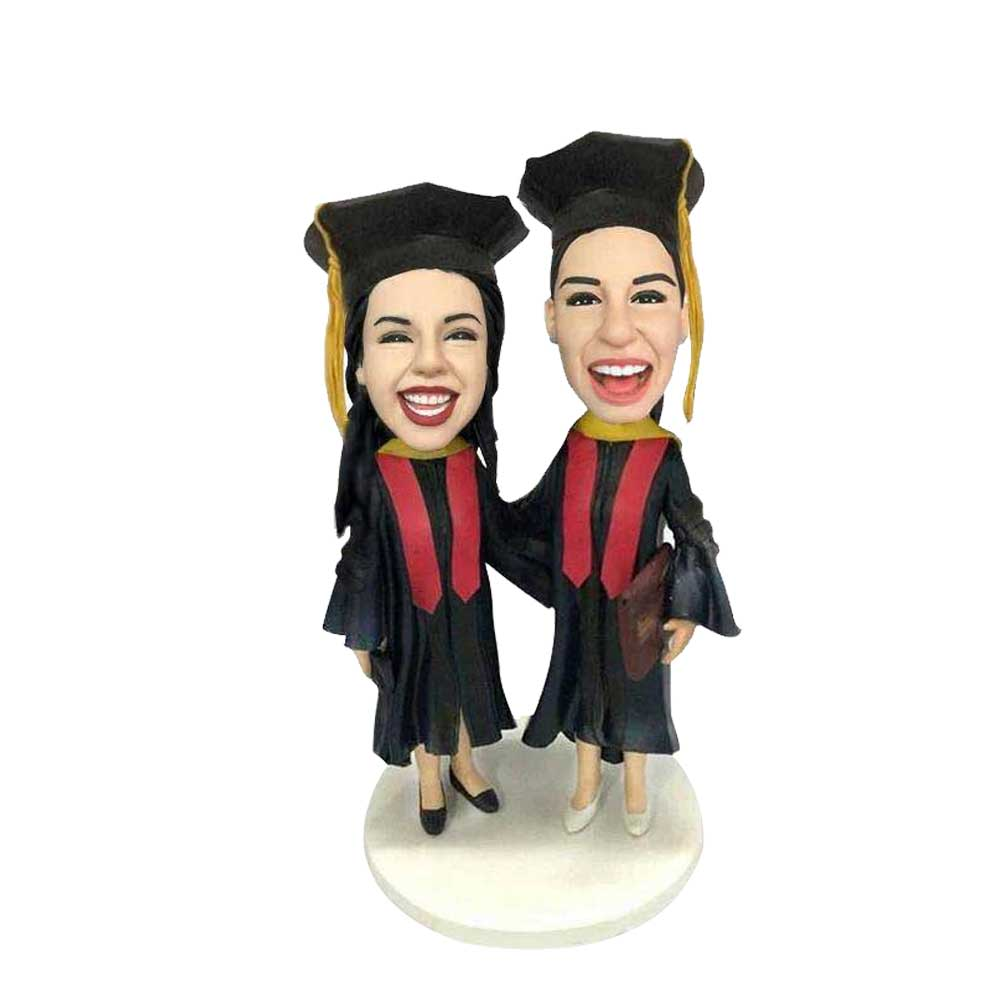 Custom-Laughing-Female-Graduates-Bobblehead-In-Black-Gowns-And-Red-Ribbons.