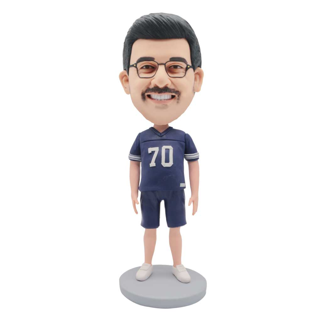 Custom-Male-Athletes-Bobblehead-In-Blue-Sportswear-With-Seventy