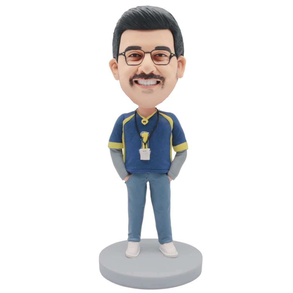 Custom-Male-Basketball-Coach-Bobblehead-In-Blue-Basketball-Jersey