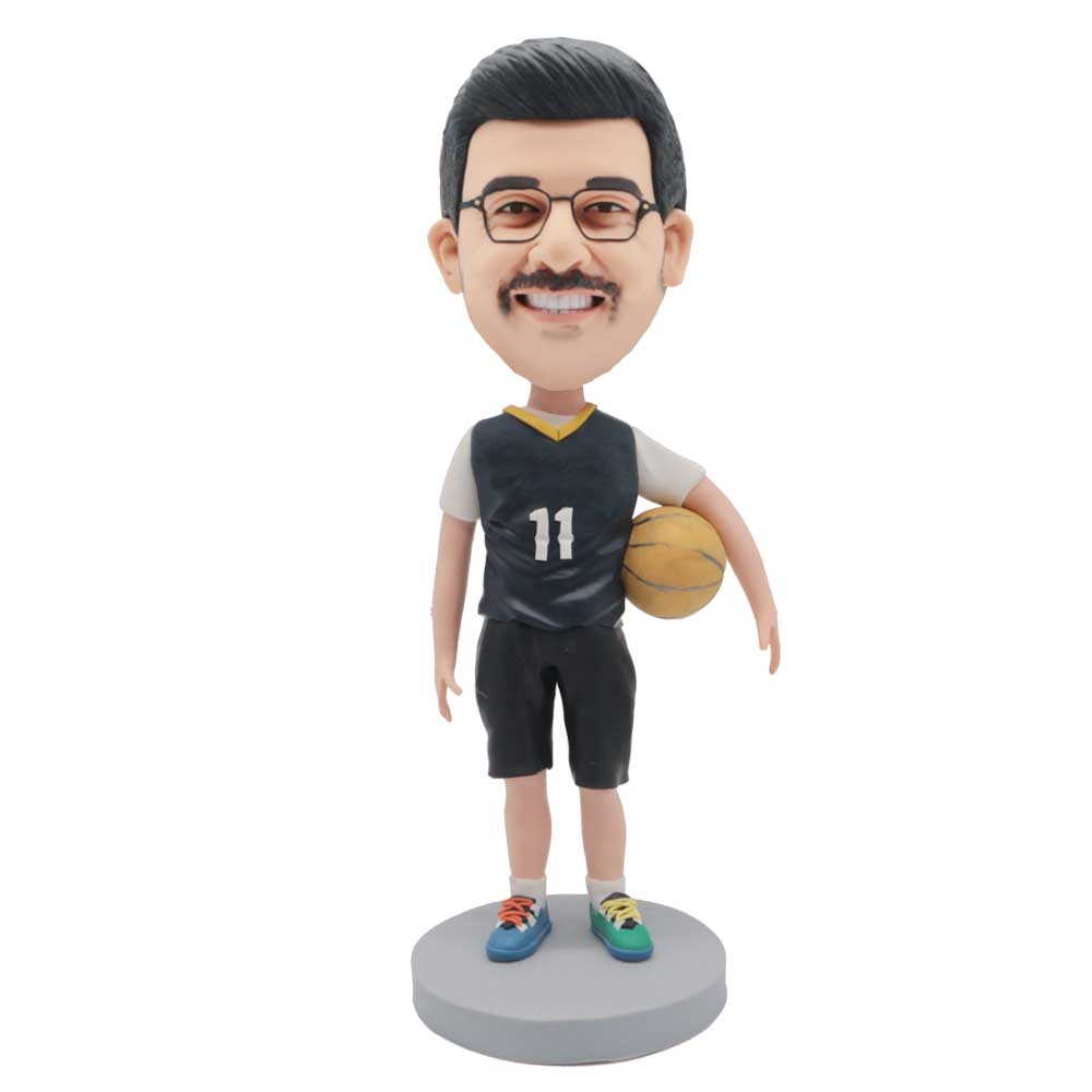 Custom-Male-Basketball-Player-Bobblehead-In-Black-Basketball-Suit-With-A-Basketball-Under-His-Arm