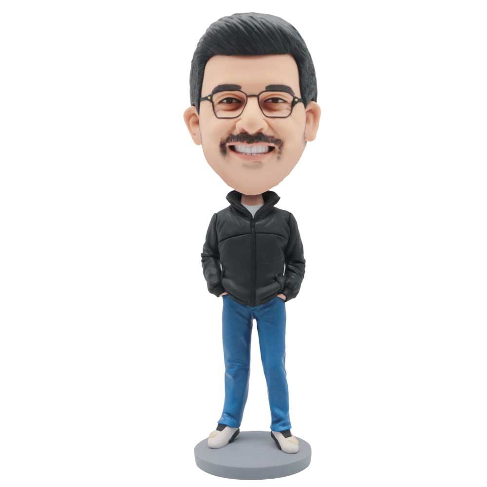 Custom-Male-Bobblehead-In-Black-Coat-And-Blue-Pants-And-Hands-In-The-Pockets