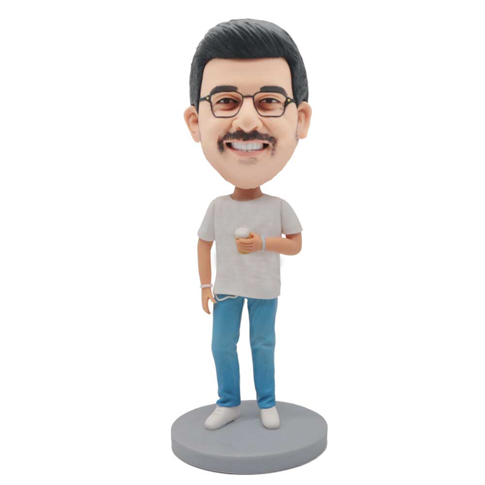 Custom-Male-Bobblehead-In-White-T-shirt-And-Blue-Jeans-With-A-Cup-Of-Drink