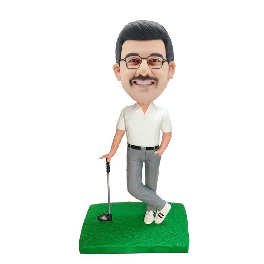 Custom-Male-Golfer-Bobblehead-In-White-T-shirt-With-A-Golf-Club