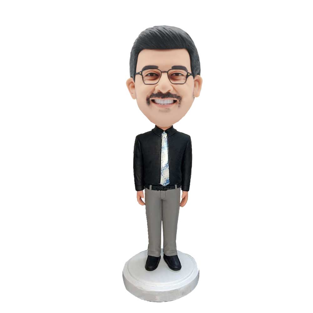 Custom-Male-Office-Staff-Bobblehead-In-Black-Shirt-With-A-Tie