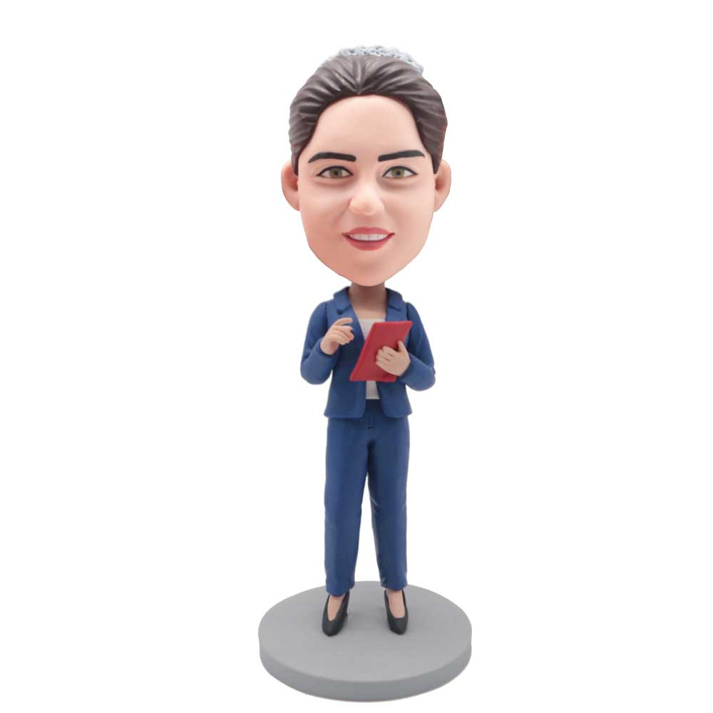 Custom-female-Office-Manager-Bobblehead-In-Blue-Suit