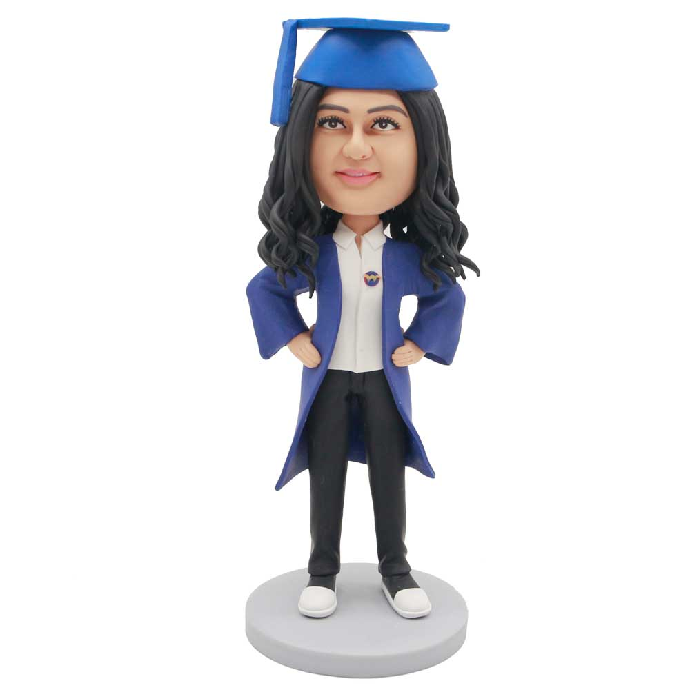 Custom-Female-Graduation-Bobblehead-In-Dark-Blue-Gown-And-Her-Hands-Rested-On-Her-Hips