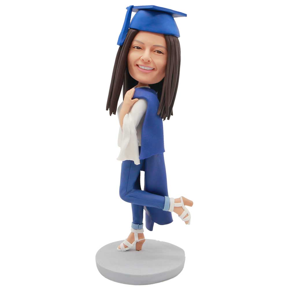 Custom-Female-Graduation-Bobblehead-In-White-Shirt-And-Drape-The-Gown-Over-Your-Shoulder