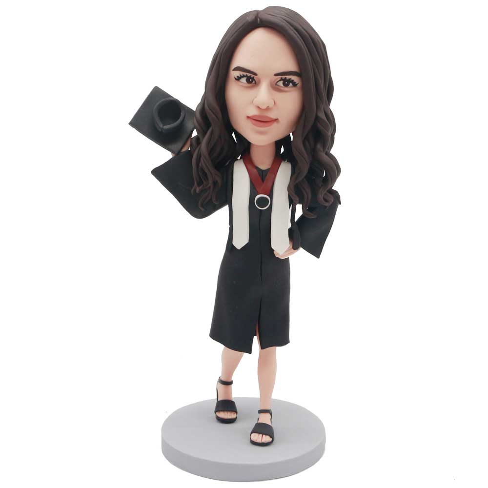 Custom-Female-Gratuates-Bobblehead-In-Black-Gown-With-A-Mortarboard