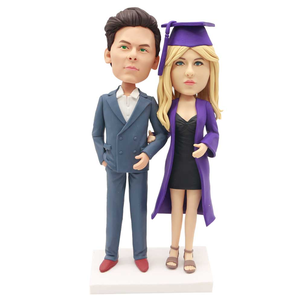 Custom-Graduation-Couple-Bobblehead-In-Suit-And-Purple-Gown